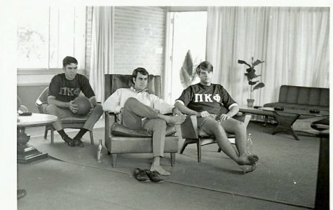 Pi Kappa Phi members hanging out in their house (1968). Photo by Stetson Archives.