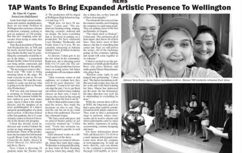 A newspaper article about TAP. Photo courtesy of Jaycie Cohen.