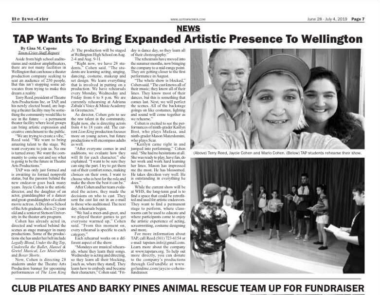 A+newspaper+article+about+TAP.+Photo+courtesy+of+Jaycie+Cohen.