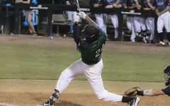 Brandon Hylton '24 swinging at one of his view at bats from the 2018 season. Photo courtesy of Stetson University Athletics.