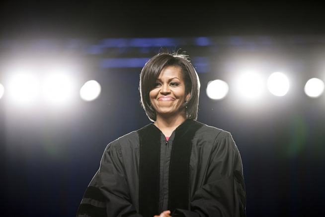 Michelle preparing to deliver a commencement address. Photo by Lawrence Jackson.