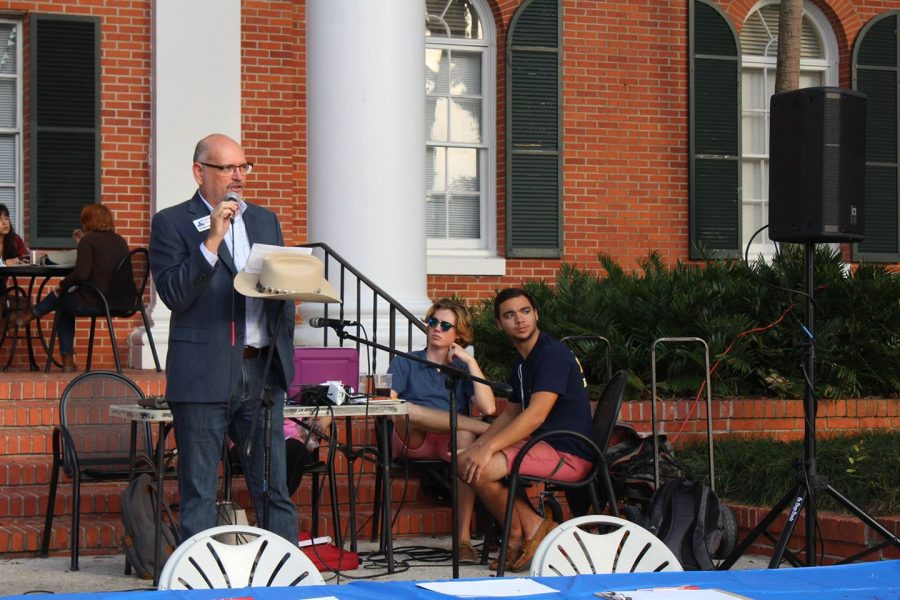"Bill McCullough speaking at Stetson University's ""Rock the Vote"" Event. Photo by Maeve Coughlin."