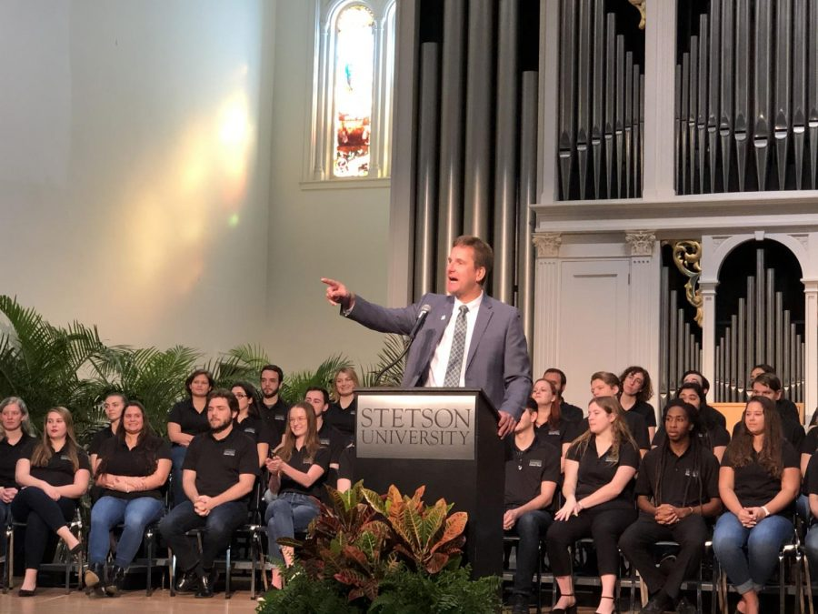 Stetson welcomes Christopher F. Roellke, PhD with excitement during his visit before officially taking office in June 2020.