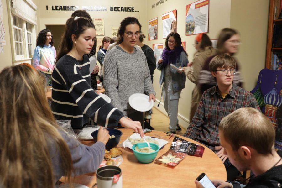 Students enjoying a wide variety of Eastern European food.