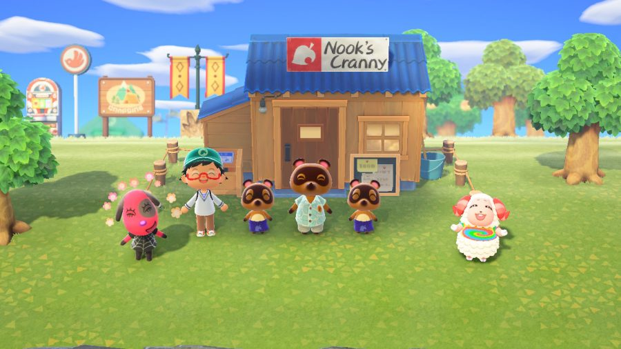 Celebrating the opening of Nook's Cranny. Credit: Nintendo.